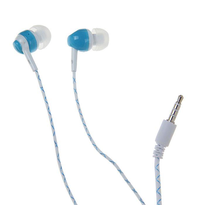Наушники с микрофоном Human Friends Lumen, вакуумные, светящийся кабель, синие