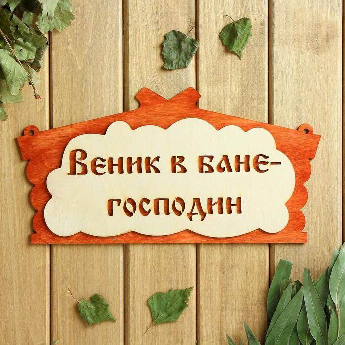 "Табличка для бани ""Веник в бане господин"" в виде избы   30х17см"