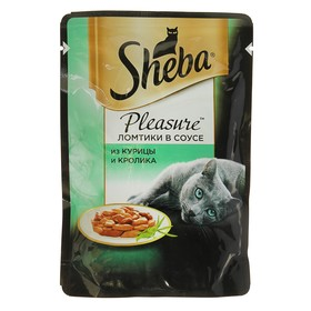 Влажный корм Sheba Pleasure для кошек, курица/кролик, пауч, 85 г