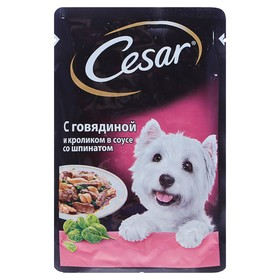 Влажный корм Cesar для собак, говядина/кролик/шпинат, пауч, 100 г