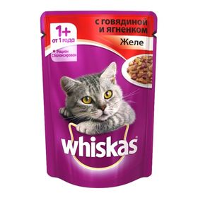 Влажный корм Whiskas для кошек, говядина/ягненок в желе, пауч, 85 г