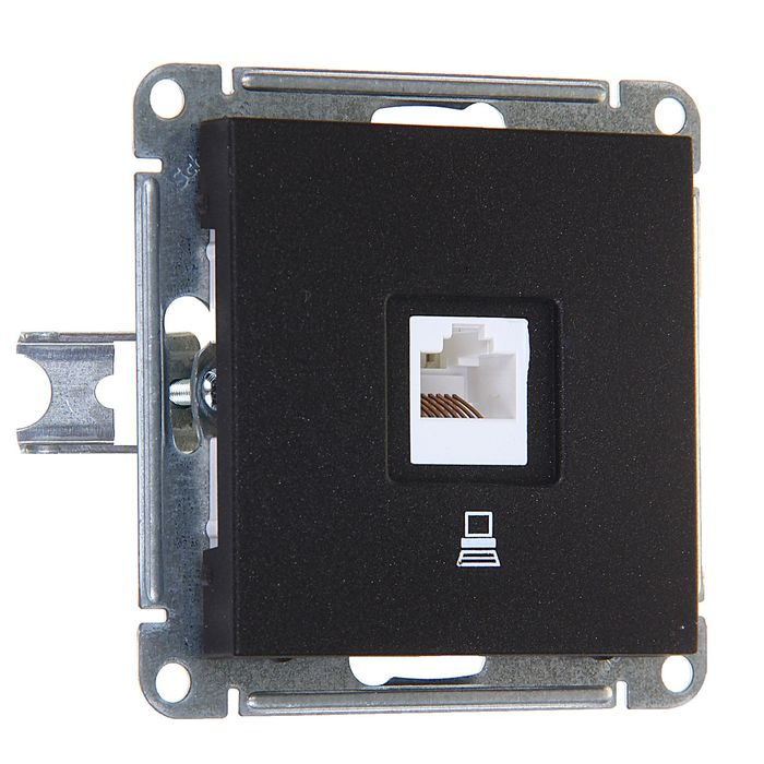 """Розетка компьютерная """"W59"""" SchE RSI-152K5E-6-86, RJ45, одноместная, цвет черный бархат"""