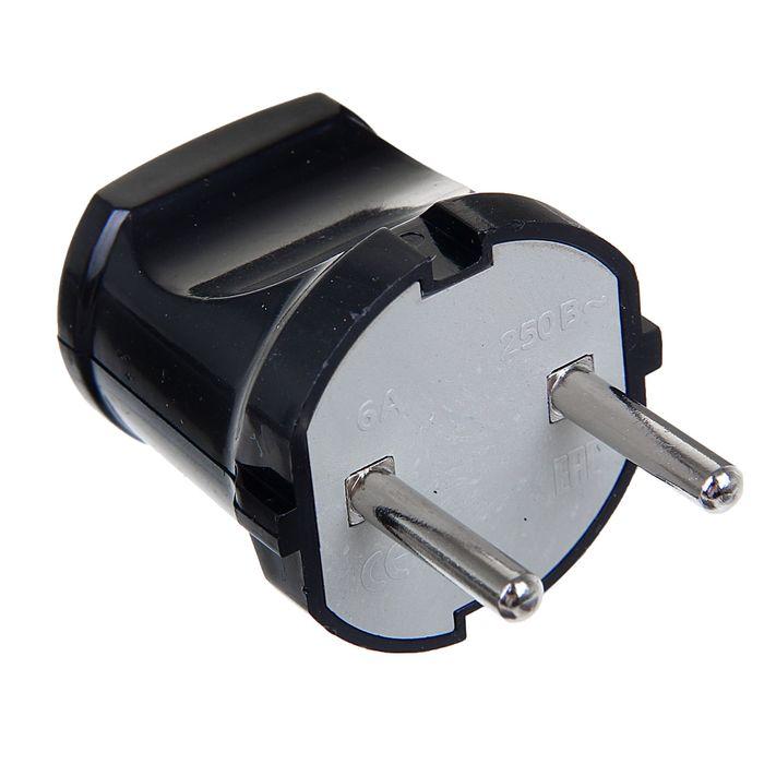 Вилка TDM, 6 А, 220 В, IP20, без з/к, чёрная