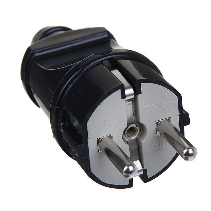 Вилка прямая TDM, 16 А, 250 В, IP20, с з/к, черная