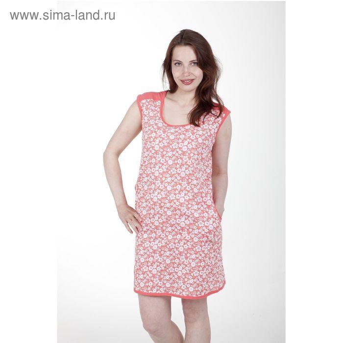 Туника женская, цвет белый/коралловый, рост 164 см, размер 48 (арт. 5317)