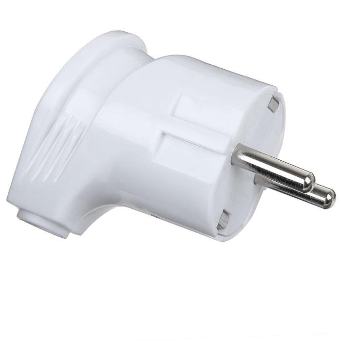 Вилка угловая TDM, 16 А, 250 В, IP20, с з/к, белая