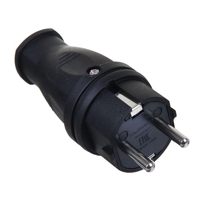 Вилка TDM, прямая, каучук 2Р+РЕ, 16 А, 250 В, IP44, SQ0612-0001