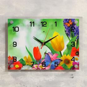 """Часы настенные, серия: Цветы, """"Бабочка и цветы"""", 25х35  см, микс"""