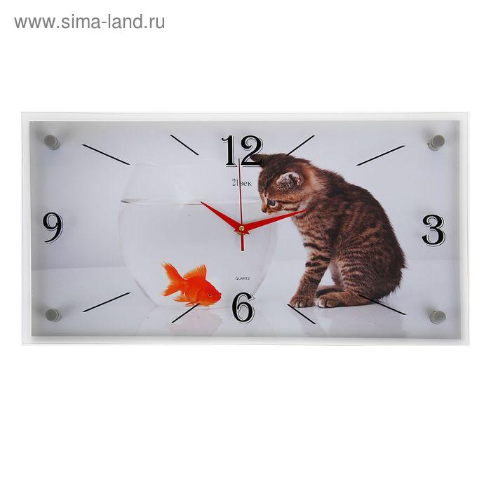 """Часы настенные прямоугольные """"Кошка и рыбка"""", 52х26 см"""