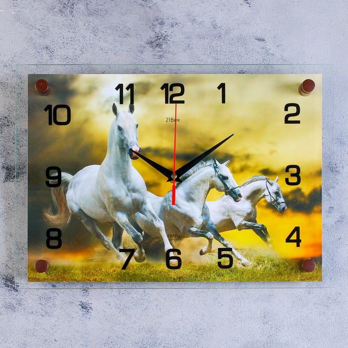 """Часы настенные, серия: Животный мир, """"Кони"""", 25х35  см, микс"""