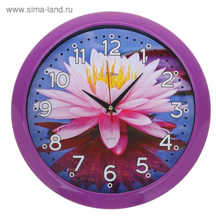 """Часы настенные круглые """"Кувшинка"""", 26х26 см фиолетовый обод"""