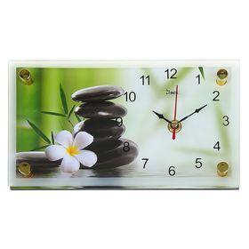 """Часы настенно-настольные """"Цветок и камни"""", 13х23  см, микс"""