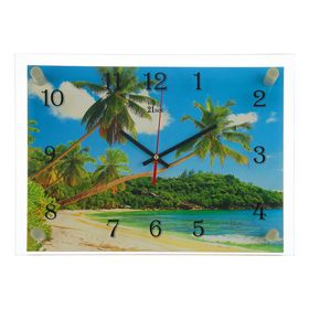 Часы настенные прямоугольные 'Тропики', 25х35 см микс Ош