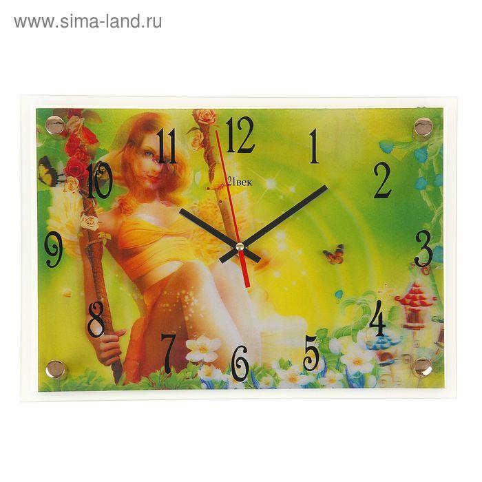 """Часы настенные прямоугольные """"Фея на качели"""", 25х35 см"""