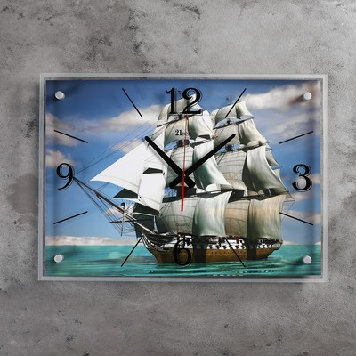 """Часы настенные, серия: Море, """"Парусник"""", 40х56 см микс"""