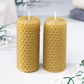 """Набор свечей из вощины медовая с добавлением эфирного масла """"Мята"""" 8 см, 2 шт"""