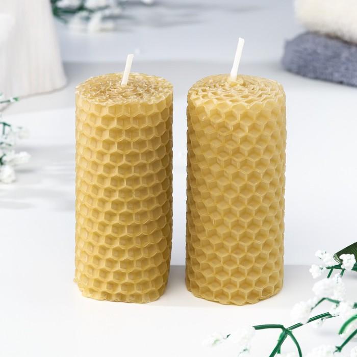 """Набор свечей из вощины медовая с добавлением эфирного масла """"Сосна"""" 8 см, 2 шт"""