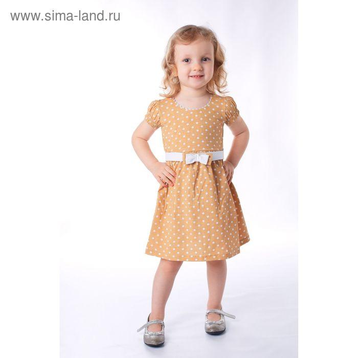 Платье для девочки, рост 98 см, цвет коричневый, принт белый горох (арт. К-057)