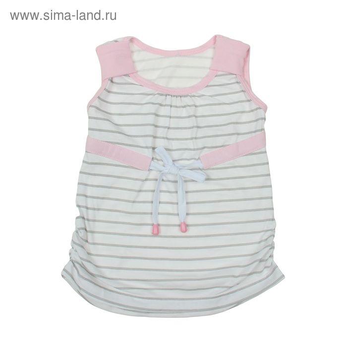 Туника для девочки, рост 116 см, цвет белый/розовый/серая полоска (арт. К-089)