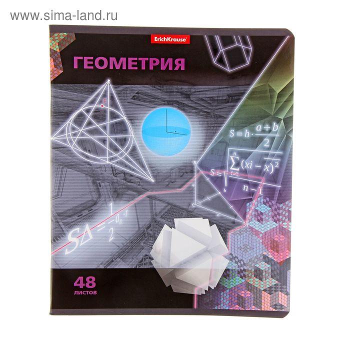 """Тетрадь предметная Videoterminal, 48 листов клетка """"Геометрия"""", уф-лак, EK 38915"""
