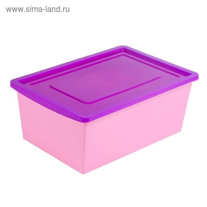 Ящик универсальный для хранения с крышкой, обьем 30 л. цв.сиренево-розовый