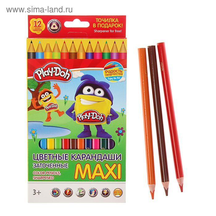 Карандаши 12 цветов Play Doh, трехгранные, утолщенные