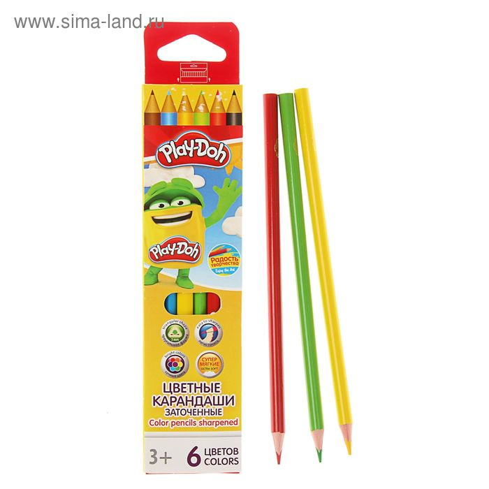 Карандаши 6 цветов Play Doh трехгранные