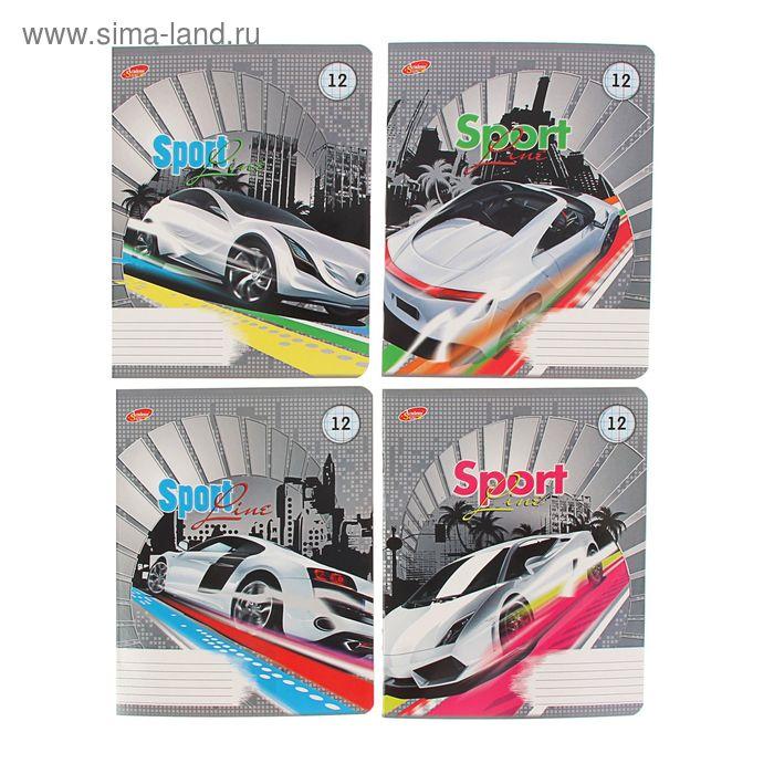 Тетрадь 12 листов клетка Sport-line: белые авто, картонная обложка, полный УФ-лак, 4 вида МИКС