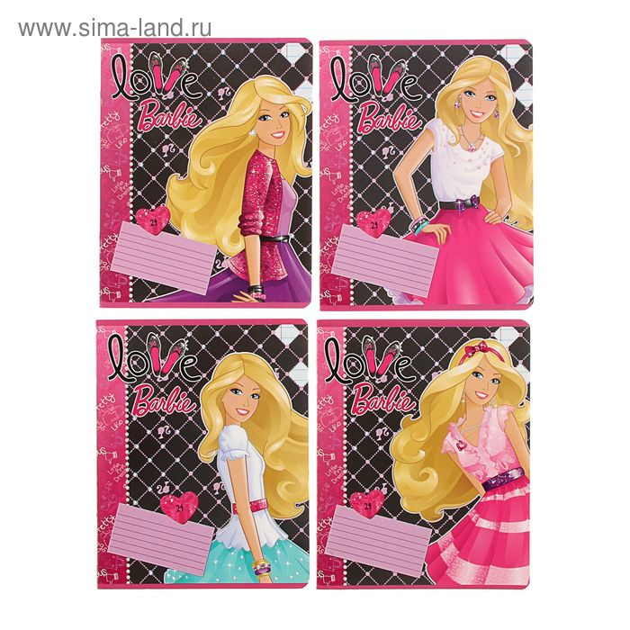 Тетрадь 24 листа линейка Barbie, картонная обложка, полный УФ-лак, 4 вида МИКС