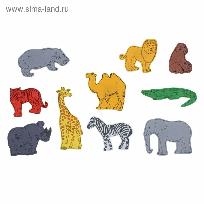 """Набор дидактический из ткани """"Животные Африки"""" на липучке, 10 шт."""