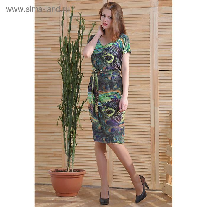 Платье 4761 С+, размер 52, рост 164 см, цвет зеленый/фиолетовый