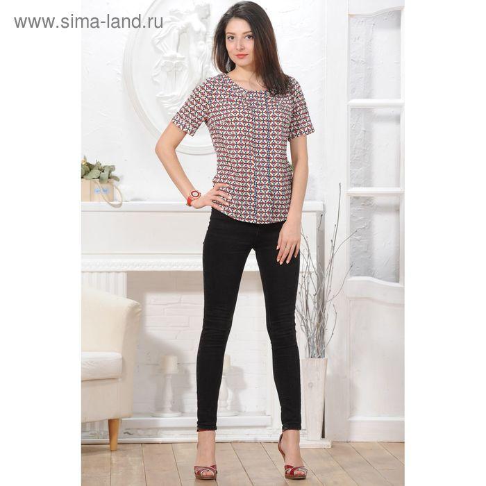 Блуза, размер 52, рост 164 см, цвет тёмно-синий/красный/бежевый (арт. 4830 С+)