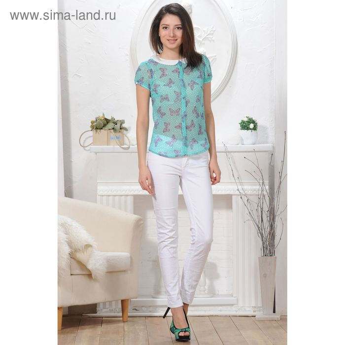 Блуза, размер 50, рост 164 см, цвет зелёный/белый (арт. 4824 С+)