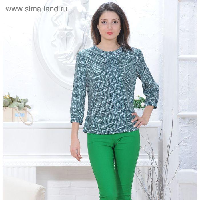 Блуза 4833, размер 48, рост 164 см, цвет зеленый/белый