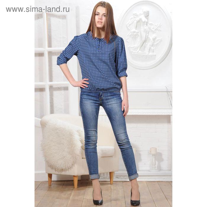 Блуза, размер 52, рост 164 см, цвет тёмно-синий (арт. 4832 С+)
