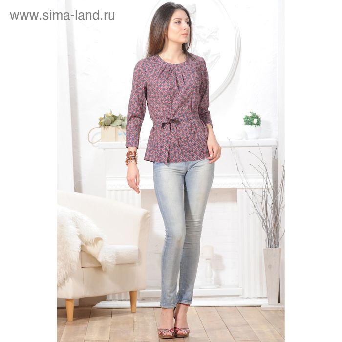 Блуза, размер 52, рост 164 см, цвет красный/синий (арт. 4847 С+)