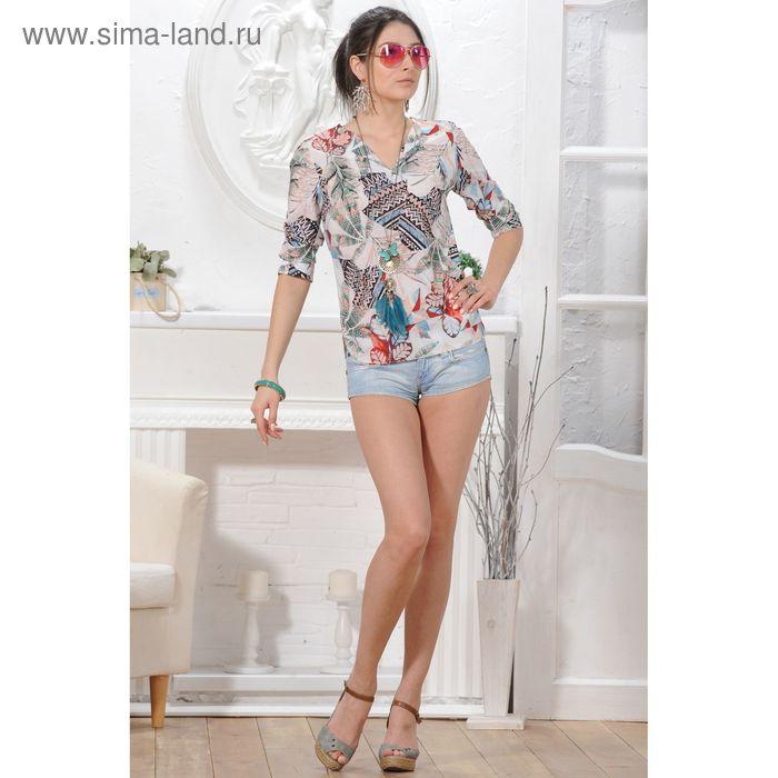 Блуза, размер 50, рост 164 см, цвет белый/зелёный/красный (арт. 4838 С+)