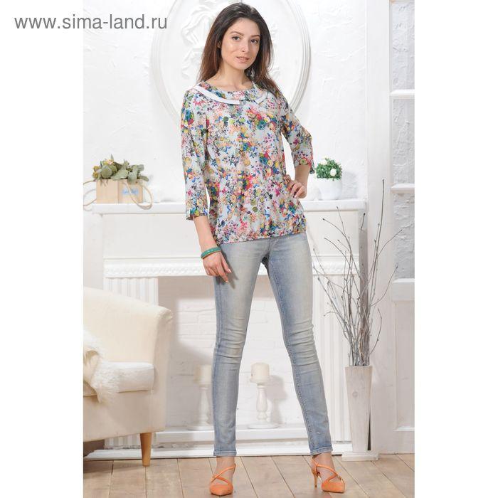 Блуза 4840 С+, размер 50, рост 164см, цвет серый/зеленый