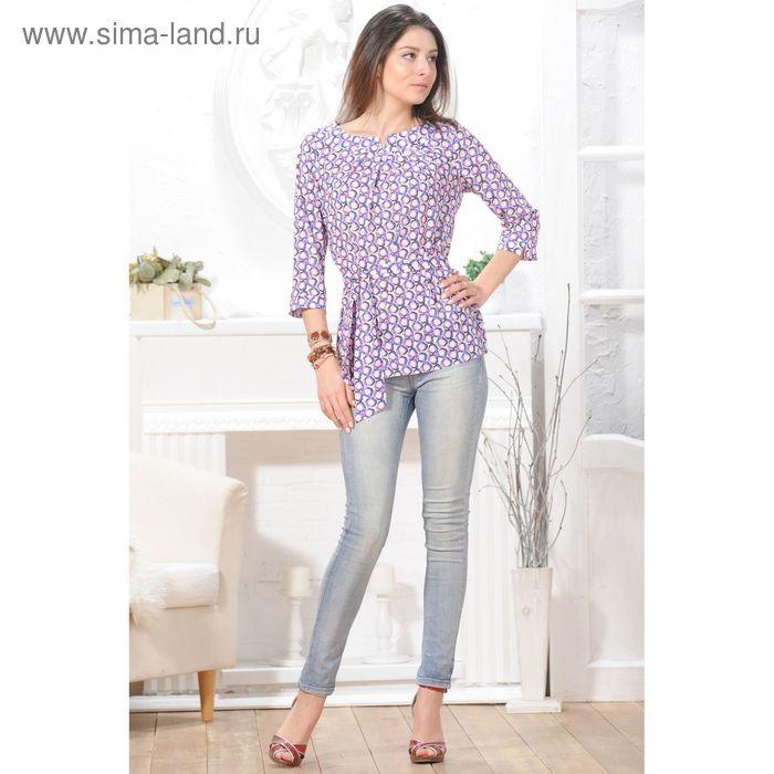 Блуза 4837, размер 46, рост 164 см, цвет белый/фиолет/розовый