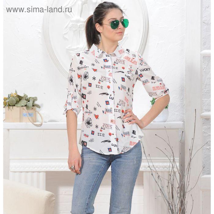 Блуза 4846, размер 48, рост 164 см, цвет белый
