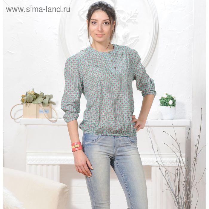 Блуза 4832а, размер 44, рост 164 см, цвет зеленый/розовый