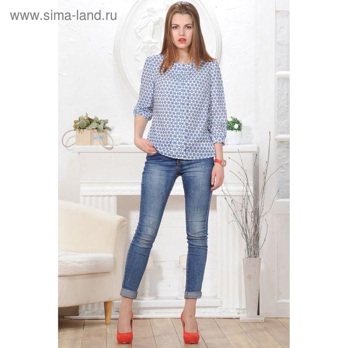 Блуза 4833а, размер 46, рост 164 см, цвет белый/синий