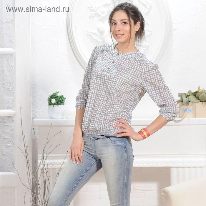 Блуза 4832б, размер 44, рост 164 см, цвет белый/зеленый