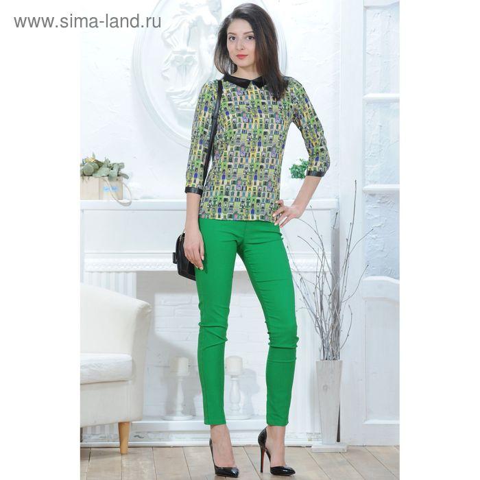 Блуза 4831а, размер 48, рост 164 см, цвет зеленый/черный/желтый