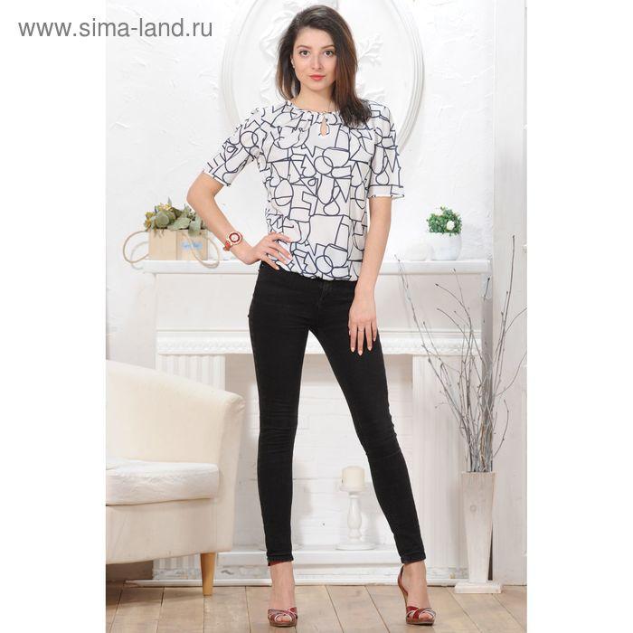 Блуза, размер 50, рост 164 см, цвет белый/тёмно-синий (арт. 4842 С+)