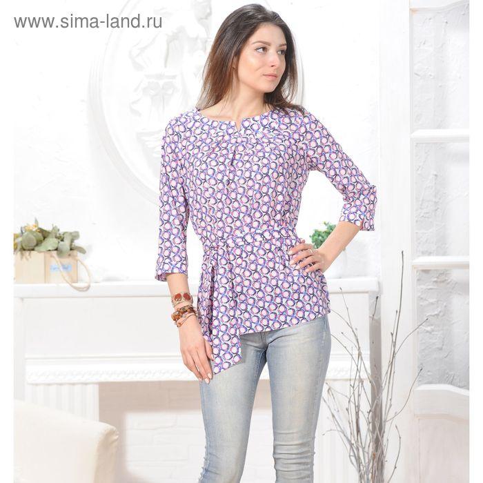 Блуза, размер 50, рост 164 см, цвет белый/фиолетовый/розовый (арт. 4837 С+)