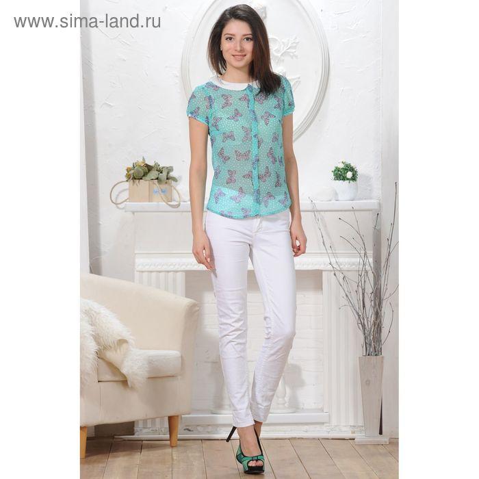 Блуза 4824, размер 44, рост 164 см, цвет зеленый/белый