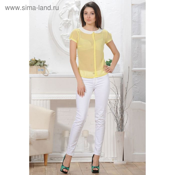Блуза 4825а, размер 48, рост 164 см, цвет лимон/белый