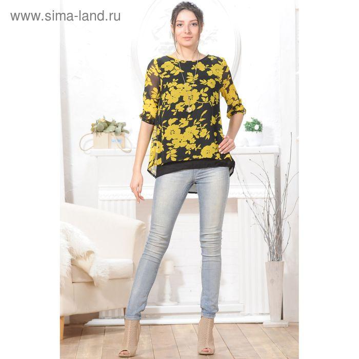 Блуза 4826, размер 44, рост 164 см, цвет черный/желтый
