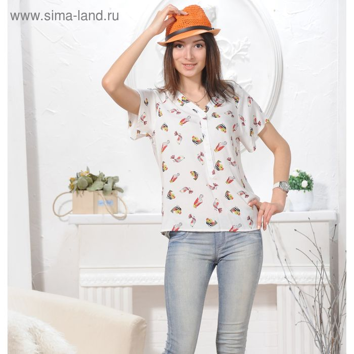Блуза 4844, размер 44, рост 164 см, цвет белый
